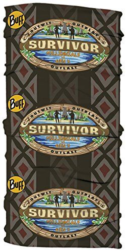 """Survivor Season 33-Mllennials vs Gen X-Vinaka Merged Tribe-Black. Officially Licensed CBS Survivor 33 Vinaka Merged Tribe Buff from Season 33. Survivor 33 Millennials vs Gen X filmed in Mamanuca Islands Fiji. Survivor Season 33 features 20 castaways trying to become the """"Ultimate Survivor"""". As always, quantities are limited on ALL Survivor Buff designs. If you do not see a Buff logo on your Survivor Buff, then it is not an official Buff! Beware of limitations!."""