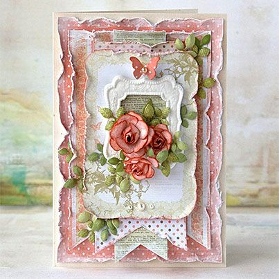 Gorgeous shabby chic card loaded with luscious layer upon layer of die cut papers and other details and topped off with gorgeous roses. ♥ Love ♥