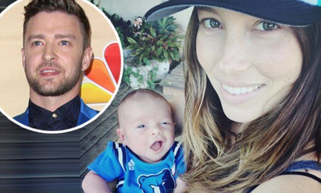 The singer and actor posted a snapshot of the adorable little boy, who was born earlier this month, in the arms of Jessica Biel on his Instagram page.