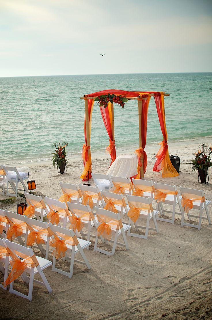#tropical orange #red beach wedding