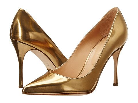 Pantofi eleganti aurii cu toc stiletto din piele
