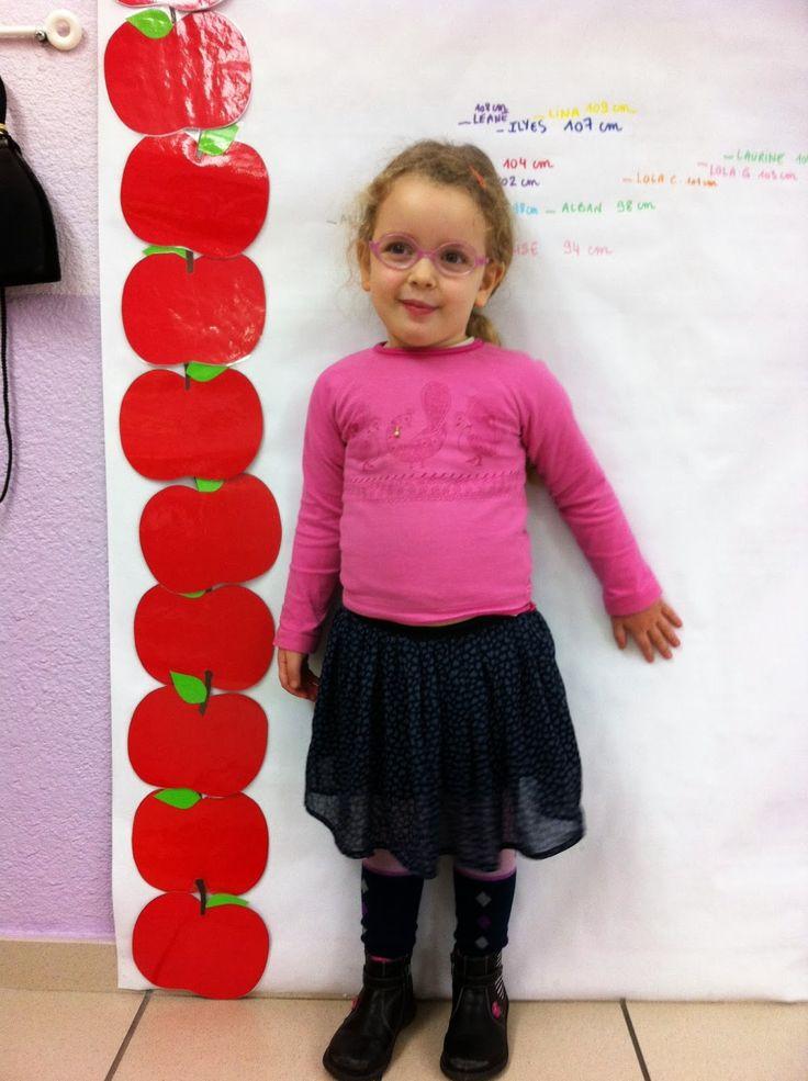La mesure - comparer la taille de vos élèves en utilisant des pommes affichées au mur!