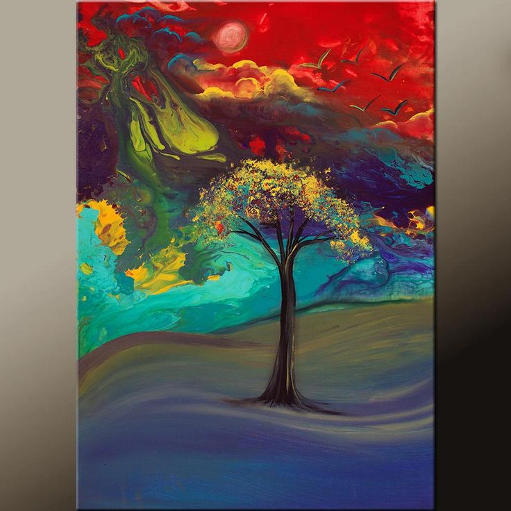 Abstract Canvas Art Contemporary Landscape Tree Painting