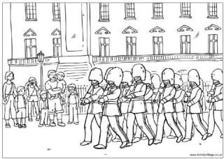 Queens guard colouring page - Changing Guard At Buckingham Palace Colouring Page Queen