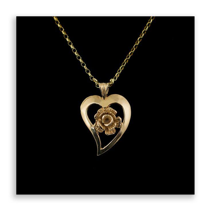Gold Rose Heart Pendant Necklace 9ct gold heart shape with flower, vintage gold pendants, vintage jewellery, rose flower, vintage gold by HelenasCurio on Etsy