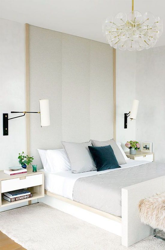Love this bedroom- the stretch out lights above the night stands and the full wall head board. Love the night stands and how grown up the bedroom looks