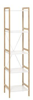 Reol BROBY 5 hyller smal bambus/hvit | JYSK