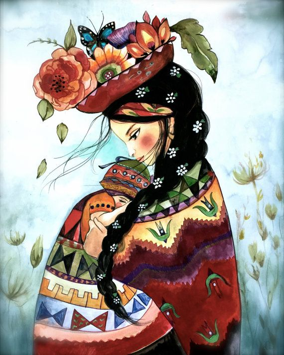 Impresión inspirada la madre peruana