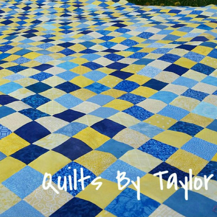 Blue and Yellow Quilt Made to Order Blue and Yellow , great contrast colors :)