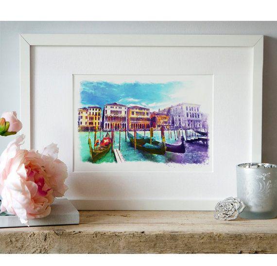 Venice Watercolor painting City art Gondolas Wall by Artsyndrome