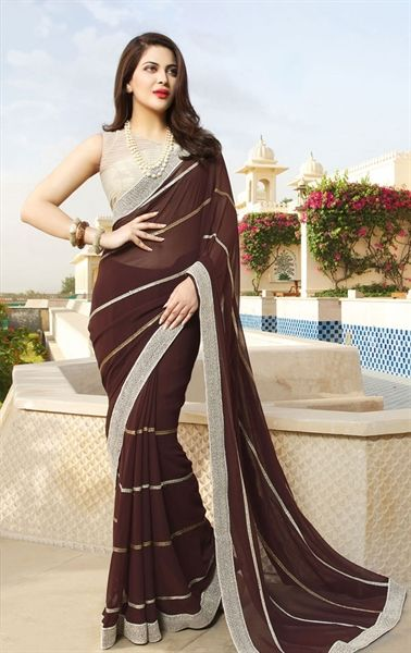 Picture of Harmonious Brown Saree with Designer Blouse Piece