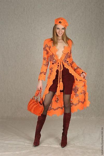 Вязание крючком платье осенние листья