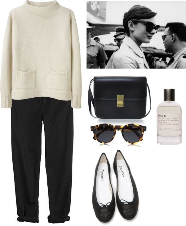 Untitled #149 by artisnonsense featuring black pants ❤ liked on PolyvoreMHL by Margaret Howell long sleeve shirt / GG 750 black pants / Repetto flat shoes / CÉLINE leather handbag / Illesteva round sunglasses / Le Labo perfume fragrance, $145