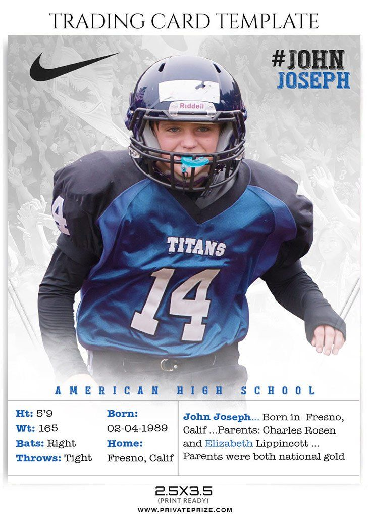 Football Sports Trading Card Photoshop Template Baseball Card Template Trading Card Template Football Trading Cards