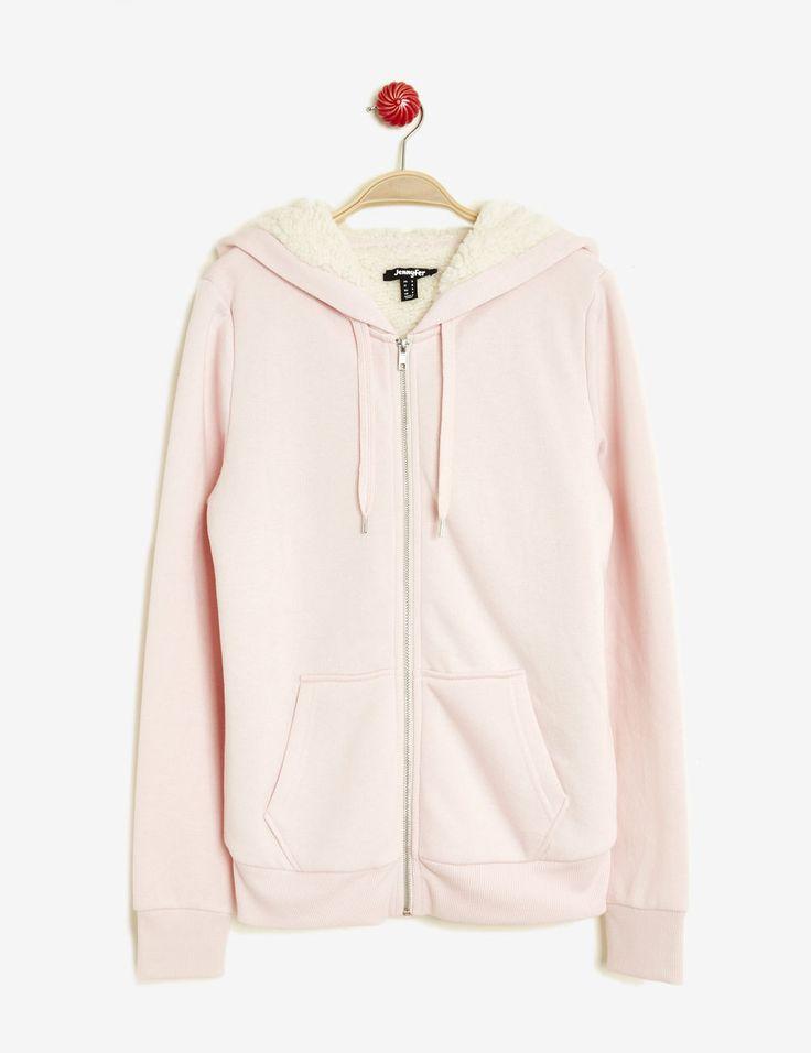 Sweat zippé doublé rose clair femme • Jennyfer
