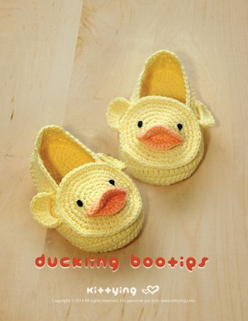 Duck Duckling Baby Booties Crochet PATTERN by KITTYING.com | This pattern includes sizes for 0 - 12 months