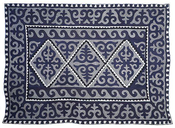 Two-tone icy blue Shyrdak rug - hand made in Kyrgyzstan. From Felt. http://www.feltrugs.co.uk/
