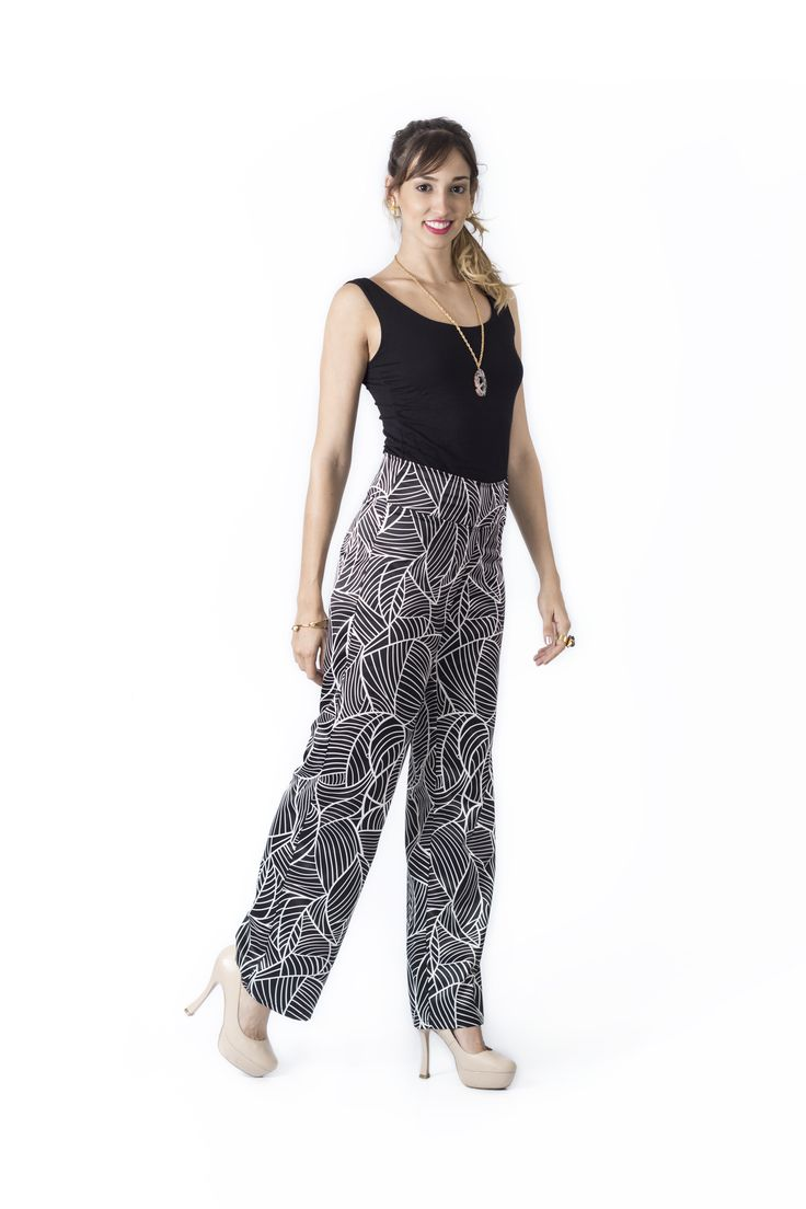 Bosque Paraíso Collection REF: TOP 11506, PANTS PA0006 SIZE: XS-1W Material top: Viscose/spandex 91/9 .Material pants: Satén- Polyester/100 Colors top: black, white, red, ivory, brown  Colors pants: black, white.