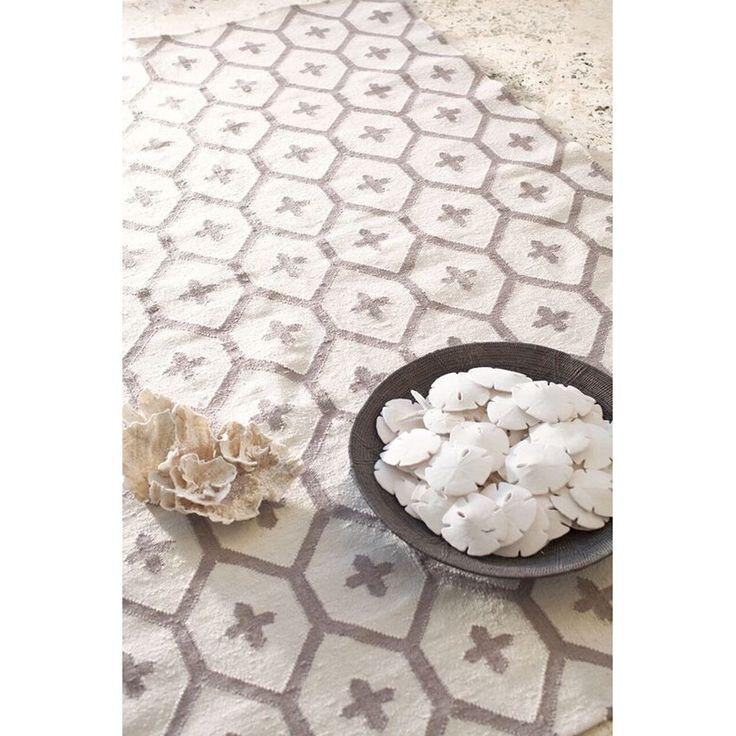 Large Honeycomb Pattern Indoor-Outdoor Rug mushroom_ivory