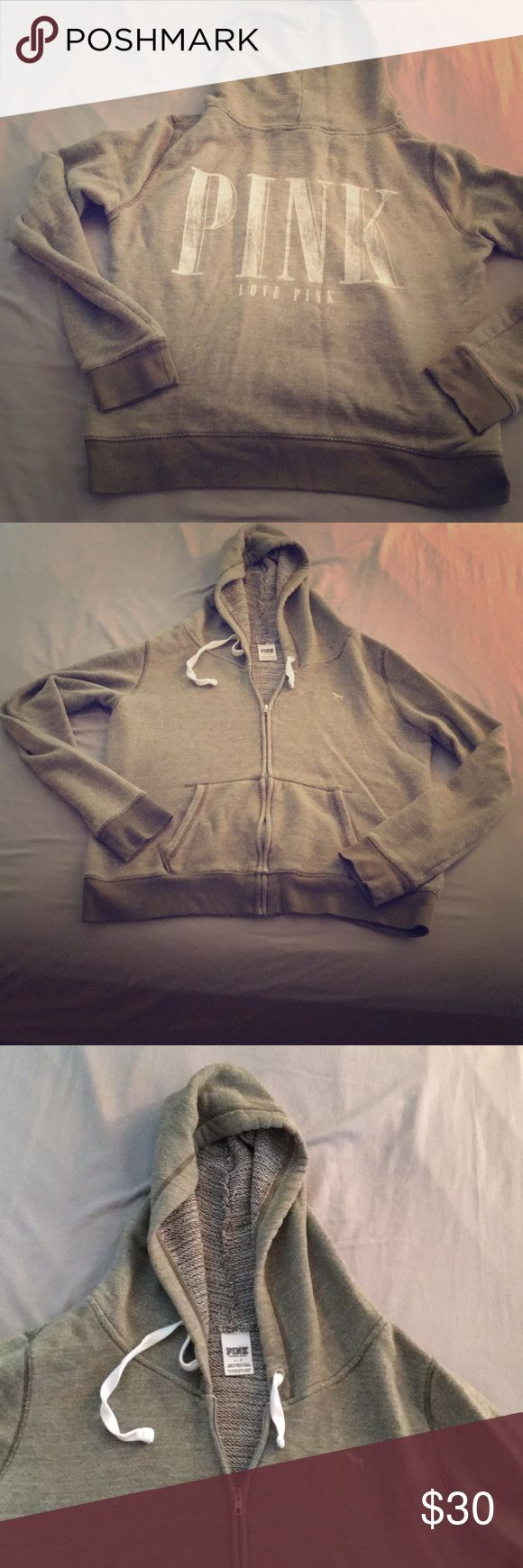 VS PINK OLIVE GREEN ZIP UP HOODIE VICTORIAS SECRET PINK OLIVE GREEN ZIP UP HOODIE. darker cuffs on sleeves and bottom trim of sweatshirt. very gently pre-loved, in like-new condition. size large. PINK Victoria's Secret Tops Sweatshirts & Hoodies