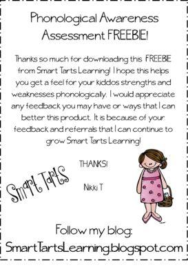 "FREEBIE ~ Phonological Awareness Assessment from Smart Tarts Learning on TeachersNotebook.com -  (8 pages)  - A FREEBIE that allows for phonological awareness assessment of the ""Smart Tarts"" in your class."