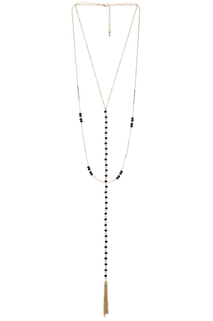8 Other Reasons Andrea Rosary Necklace in Gold & Black