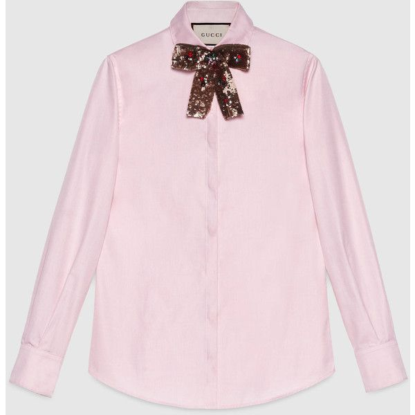 Gucci Sequin Bow Oxford Shirt (£660) ❤ liked on Polyvore featuring tops, pink oxford shirt, bow top, gucci, pink oxfords and embroidered top