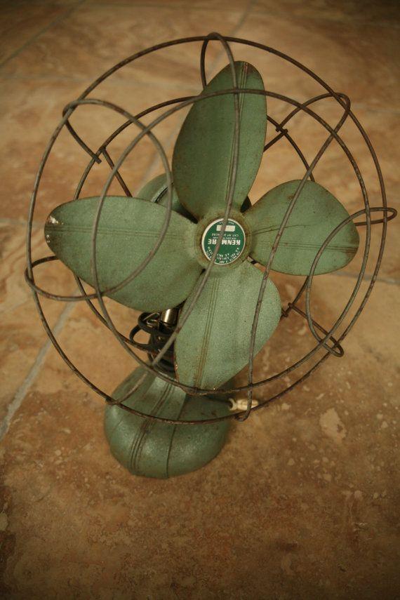 Kenmore,  115 Volts, 6 Amps., Old Fan, Home Decor, Industrial, 1950s, Green Fan, Desk Fan, Working