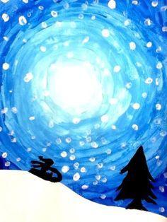 ombres sur fond nuit bleu