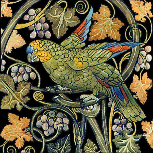William De Morgan Parrot accent tile, black background