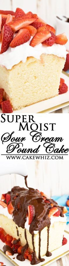This CLASSIC SOUR CREAM POUND CAKE recipe is firm and dense but still very moist. Perfect for carving and cake decorating or just serving with whipped cream and fresh fruits! From http://cakewhiz.com