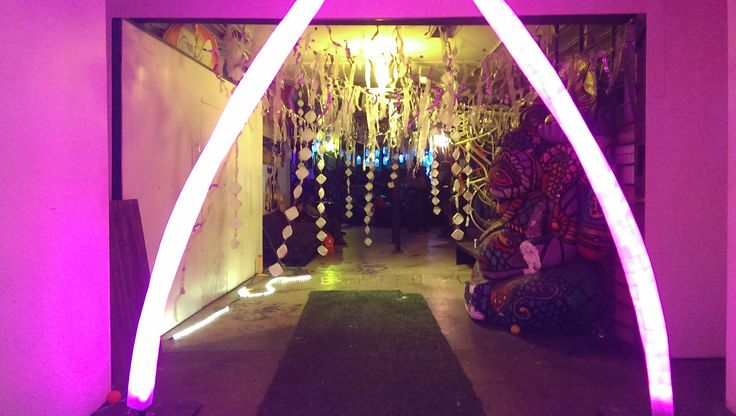 Milkcrate Light Arch and pendant decor at Its Not Wasted Yet exhibition. Oct, 2014