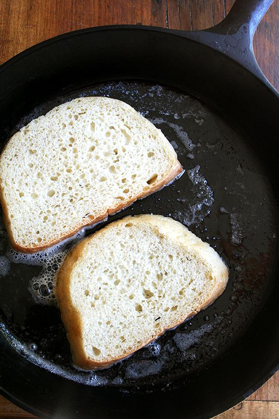 bread toasting in cast iron