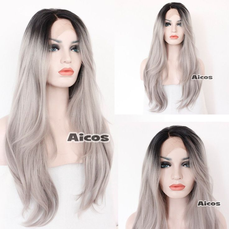 24'' Synthetic Lace Front Wig Heat Resistant Long Wavy Ombre Grey Gray Hair Wigs…