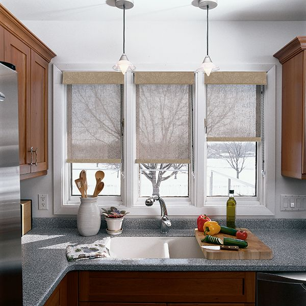 Solar Shades With Fabric Wrapped Cornice Grenville White Beige 90203