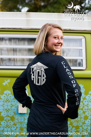 Sleeve Graduation Monogram T-Shirt  | underthecarolinamoon.com