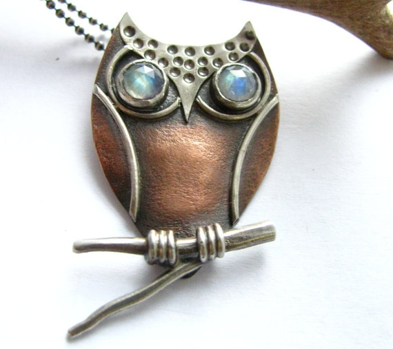 Owl Pendant Necklace - Copper, Sterling Silver And Rainbow Moonstone Owl Necklace - Artisan Metalsmith Jewelry. $172.00, via Etsy.
