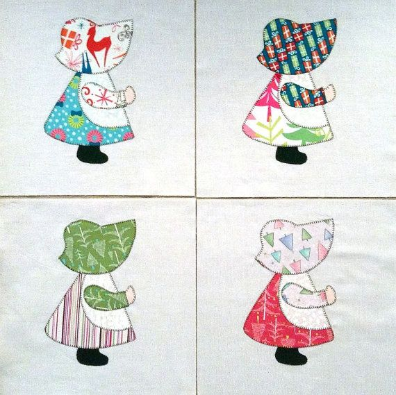 Quilt Blocks Appliqued Christmas Sunbonnet Sue by zizzybob on Etsy, $11.00