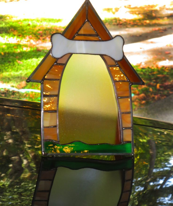 Stained Glass Dog House Picture Frame - Frame for a picture of your dog.  Can etch the name of your dog onto the Bone.