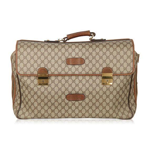 98d196614c4 Authentic GUCCI Vintage Brown Monogram 48h Travel Weekender Bag Briefcase  Handbag