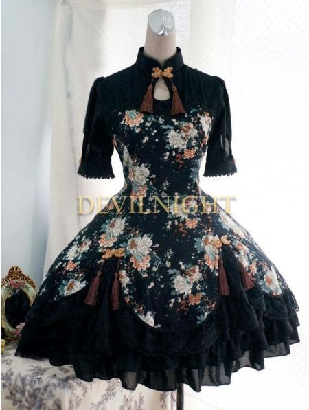 Floral Pattern Short Sleeves #Lolita #Dress