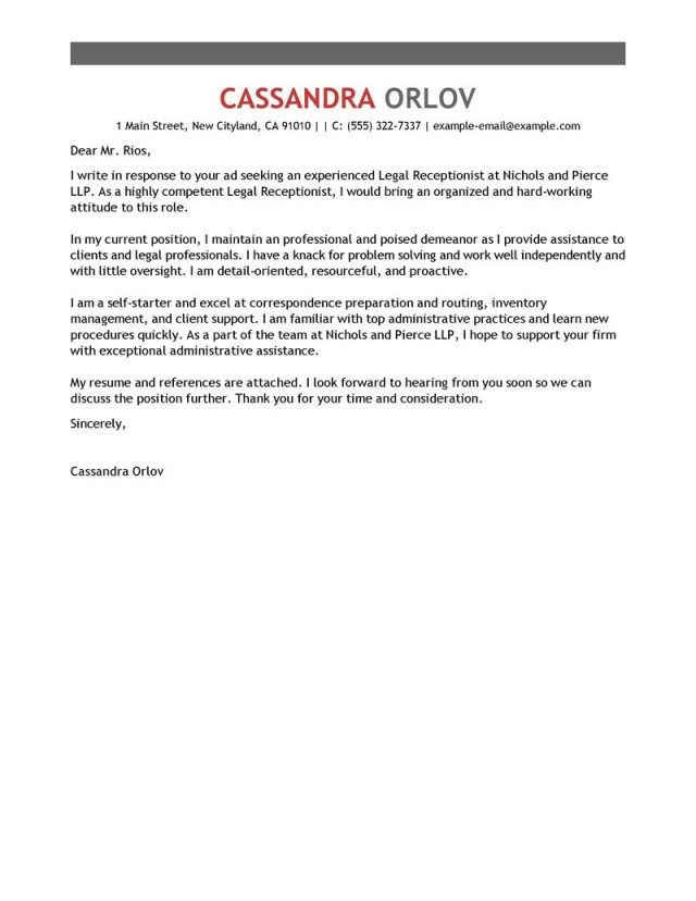 26+ Receptionist Cover Letter Sample Cover Letter Tips Cover