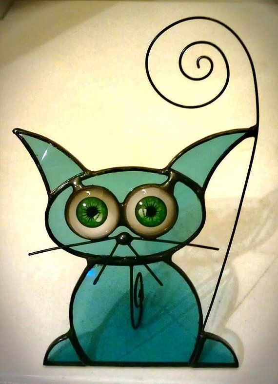stained glass cat suncatcher picture holder by soniahalejak, £12.00