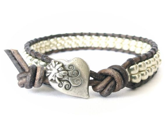 Grey & silver leather wrap bracelet with heart button, hipster gift for best friend, Japanese Miyuki seed beads
