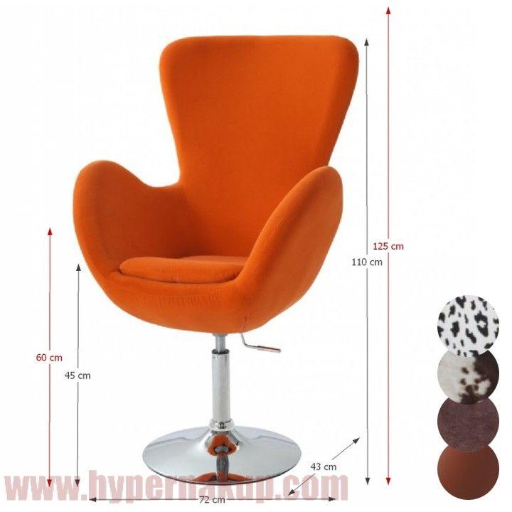 Kreslo - ušiak, otočné kreslo s nastaviteľnou výškou sedenia Materiál: chróm + látka oranžová Rozmery (ŠxHxV): 72x43x110/125 cm, výška sedenia: 45/60 cm.  Nosnost: 100 kg.  Dodávané v demonte.  Hmotnosť: 14 kg  Relaxačné kreslo,látka oranžová/chróm, OLLI | HYPERNAKUP.COM | PREDAJ - DOPRAVA ZADARMO