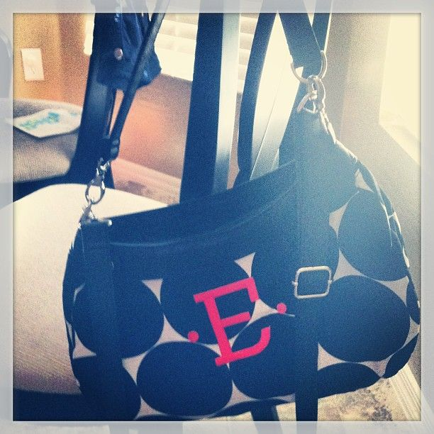 """Love my new Suite Skirt Purse with my initial on it. Also love the Big Dot Print with orange embroidery."""