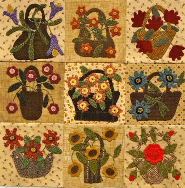 Over the hill and running wool applique pinterest for Blackbird designs english garden
