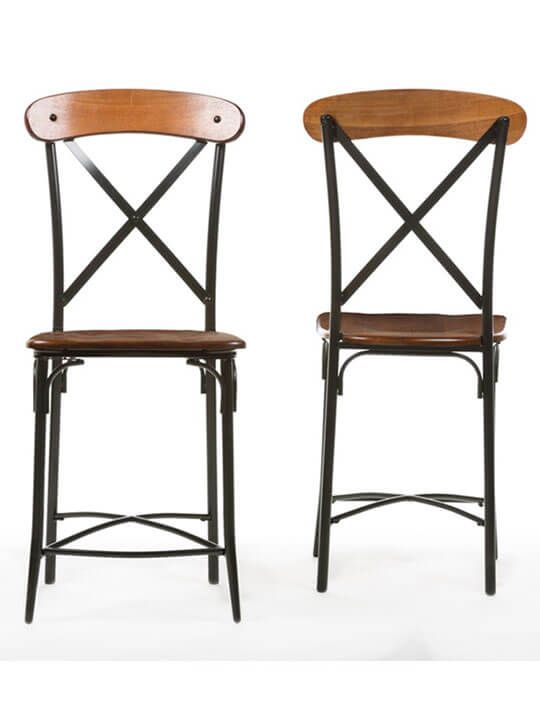 x industrial wood barstool 2 set metal counter stoolswood - Metal Counter Stools
