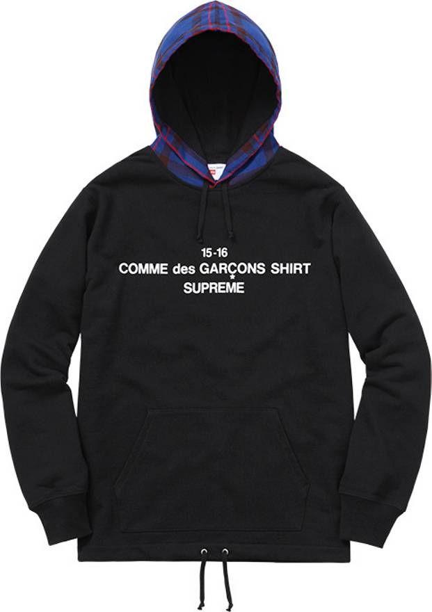 0cc317362245 Supreme x CDG Plaid Hoodie in 2019   Skate brand logos   Plaid ...