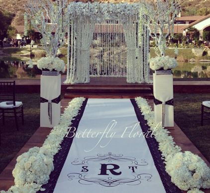 Monogram Aisle Runner Black And White Elegance
